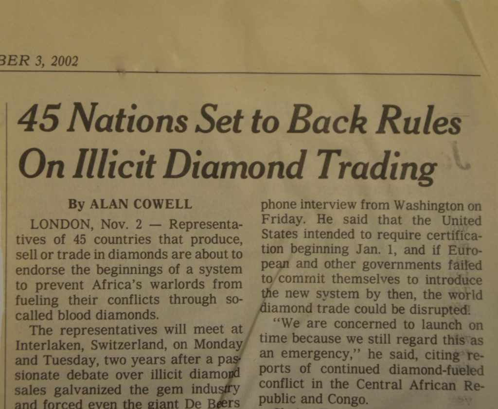 The Kimberley Process to End Trade of Conflict Diamonds is Signed